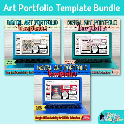 art portfolio template bundle for middle school kids