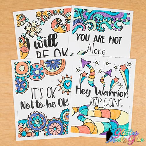 hey warrior keep going and it's ok not to be ok mental health coloring pages