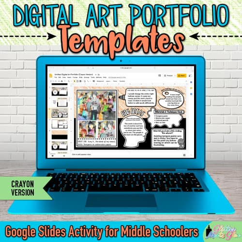 digital art portfolio templates for middle school