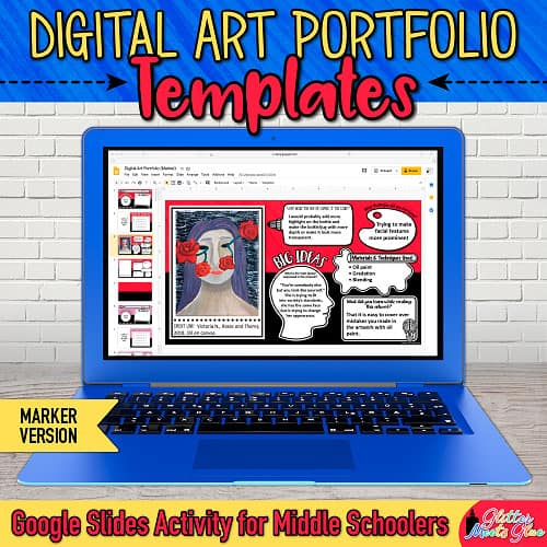 digital art portfolio templates on Google Drive for kids