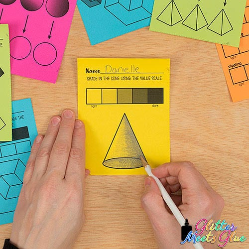 how to shade a cone art exit ticket for kids
