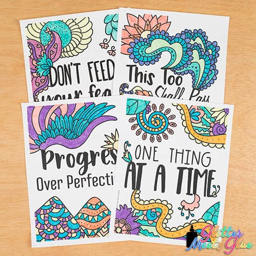 one thing at a time and progress over perfection coloring pages