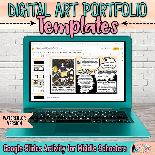 visual arts portfolio templates on google slides for middle school