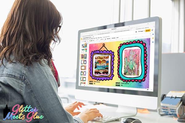 art teacher working on art show