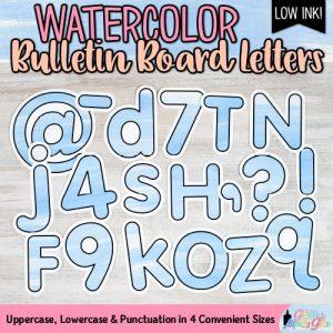 blue watercolor bulletin board letters for teachers