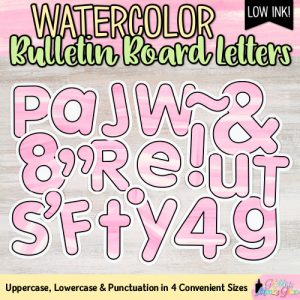 pink watercolor bulletin board letters for teachers