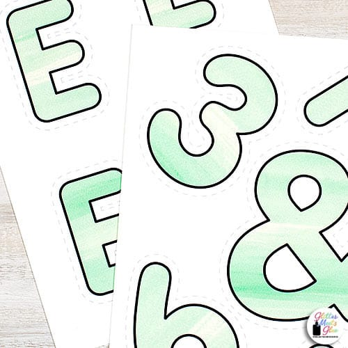 green watercolor letters for teachers
