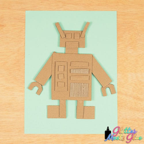cardboard robot sculpture art project for kids