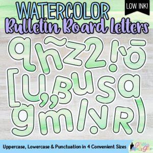 green watercolor bulletin board letters for teachers