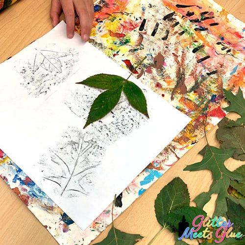 leaf rubbing distance learning art lesson