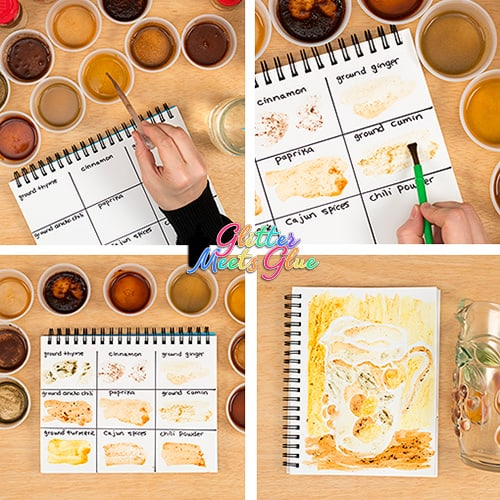 painting with spices for kids