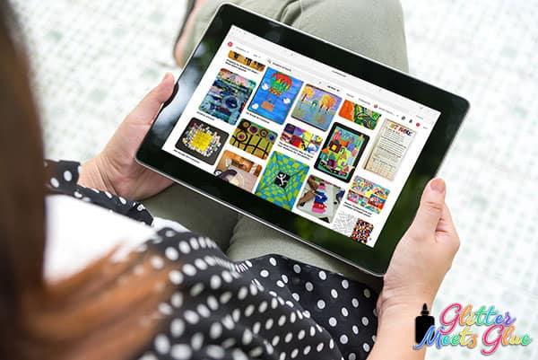 teacher looking at pinterest on iPad