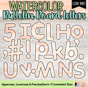 tangerine watercolor bulletin board letters for teachers