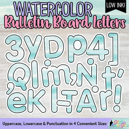 teal watercolor bulletin board letters for teachers