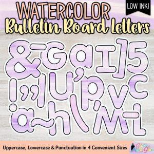 violet watercolor bulletin board letters for teachers