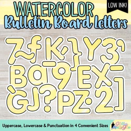 yellow watercolor bulletin board letters for teachers