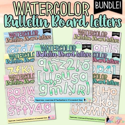 watercolor bulletin board letters bundle