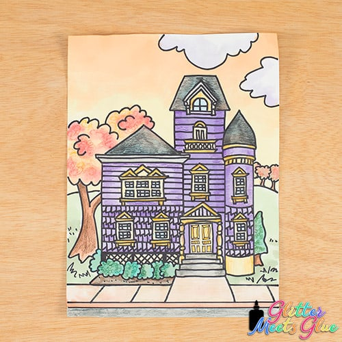 haunted house art project for middle school kids