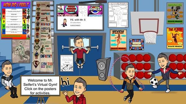 physical education bitmoji virtual classroom