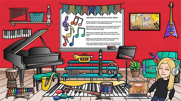 virtual music room bitmoji ideas