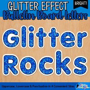 blue glitter bulletin board letters for teachers