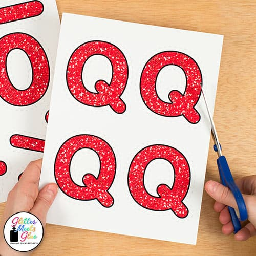 red glitter letters for bulletin boards