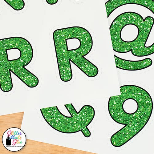 green glitter alphabet printables for teachers