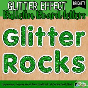 green glitter bulletin board letters