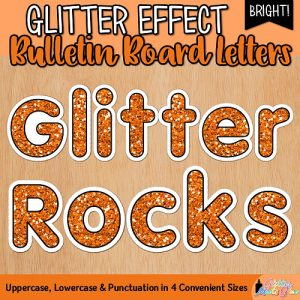 orange glitter bulletin board letters for teachers