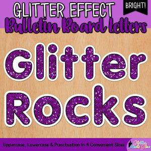 purple glitter bulletin board letters