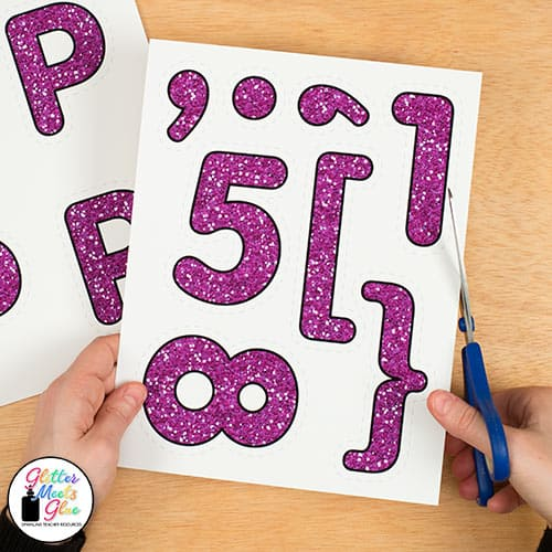 purple glitter letters classroom decor