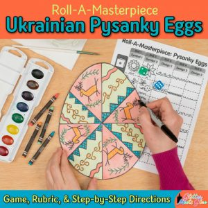 pysanky eggs art game for elementary kids