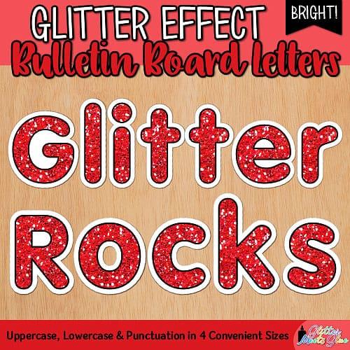 red glitter bulletin board letters for teachers