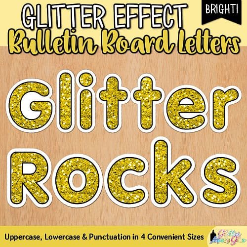 yellow glitter bulletin board letters for teachers