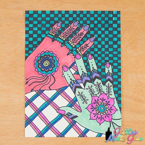 mehndi hands art lesson for kids