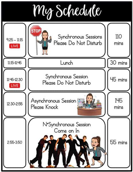 bitmoji virtual schedule for teachers and students during distance learning