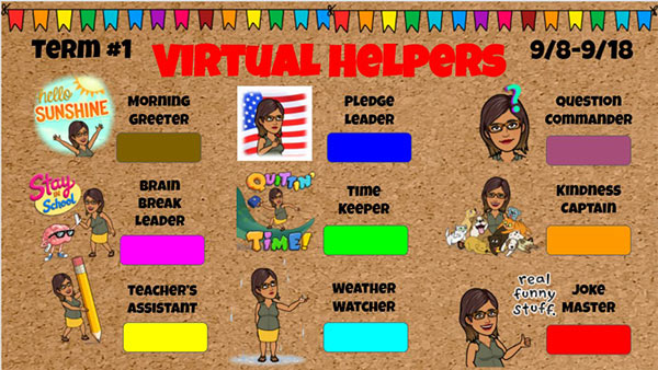 classroom jobs chart for virtual learning