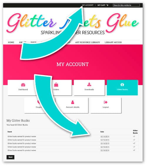 how to view glitter bucks and coupons in my account