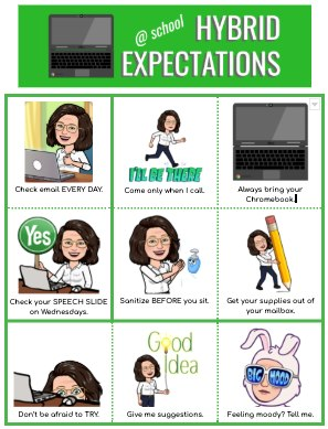 hybrid learning expectations chart for teachers and students
