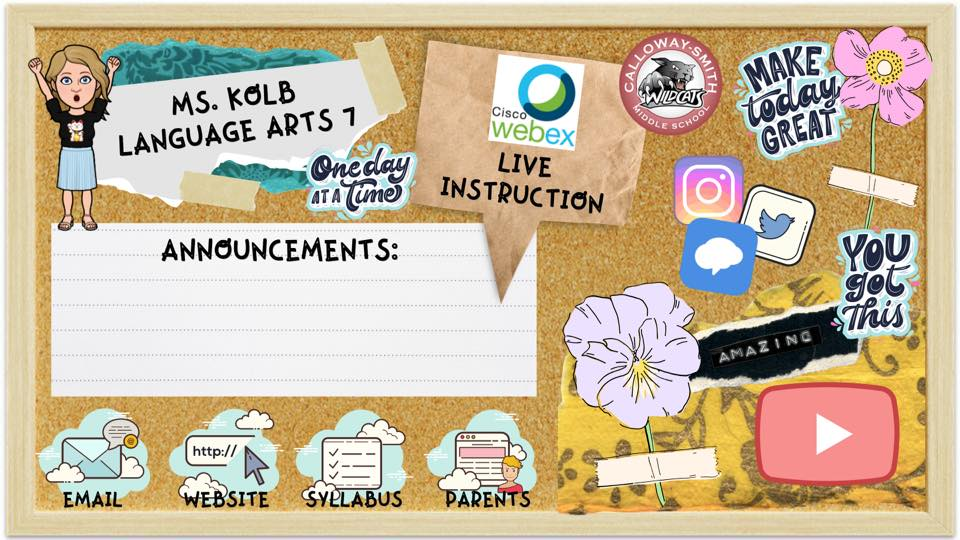 virtual informational bulletin board for distance learning