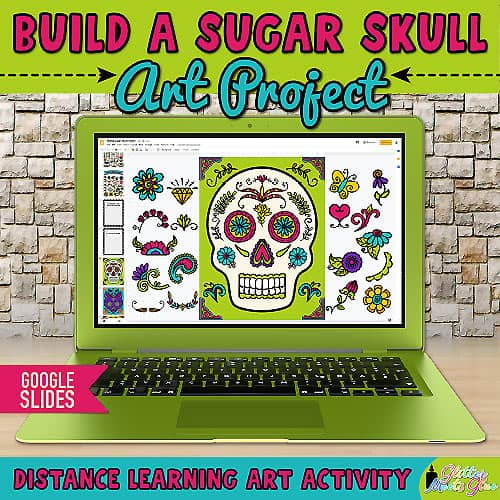 digital sugar skull art project on google slides for kids