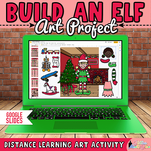 digital build an elf art project for kids on Google Slides