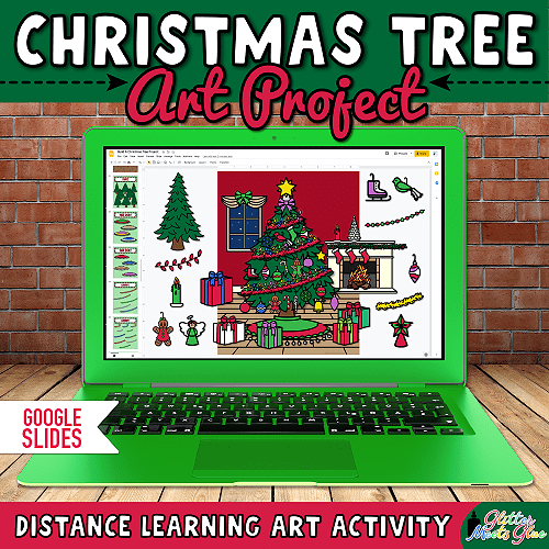 digital build a christmas tree art project for kids distance learning