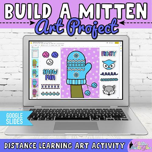 digital mitten art project in google slides for kids