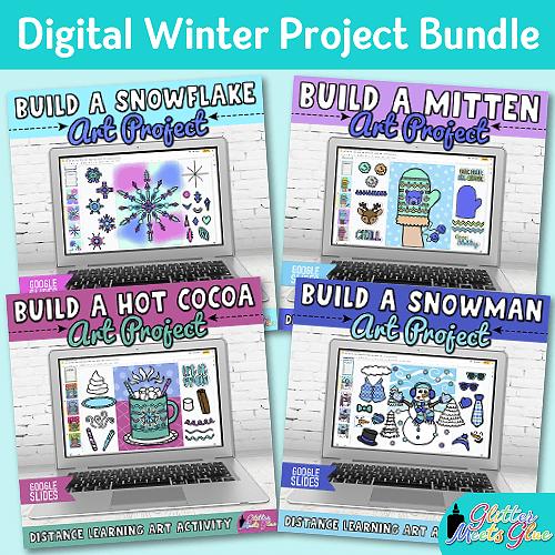 digital winter art project bundle for kids distance learning