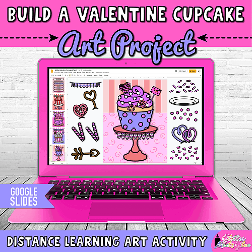 digital build a cupcake art project for first grade