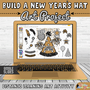 digital new years hat project for kids distance learning