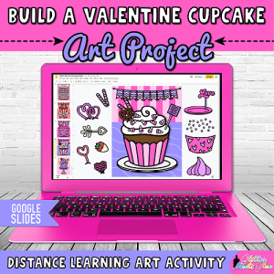 digital valentines day cupcake art project for kids distance learning