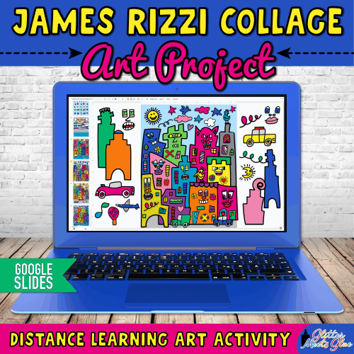 digital james rizzi cityscape art project for kids distance learning