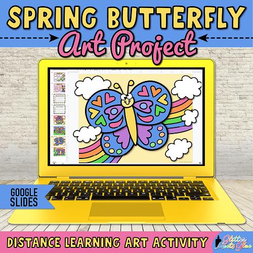 digital butterfly art project for kids distance learning